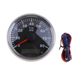 Details about Waterproof Marine Tachometer Gauge Hour Meter 0-8000 RPM 85mm  Install Dia #1