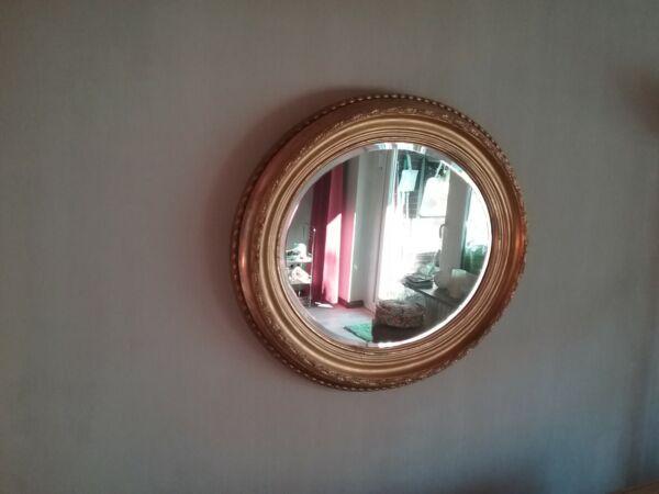 100% QualitäT Großer Ovaler Antiker Spiegel Mit Blattgold Und Holzrahmen Mild And Mellow