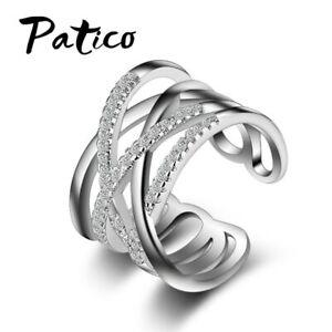 Silberring-Mehrreihig-Breit-Gewebt-Wickel-Mit-stein-Ring-Silber-925-Verstellbar