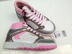 BNWT Older Girls Sz 3 Rivers Doghouse Pink White Stars High Top Joggers RRP $50