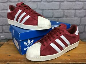 ADIDAS-MENS-UK-12-EU-47-1-3-SUPERSTAR-80-039-S-DELUXE-BURGUNDY-WHITE-TRAINERS-RRP-95