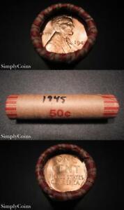 50-1945-Lincoln-Wheat-Penny-Shotgun-Roll-BU-Uncirculated-RED-US-Coins-MQ