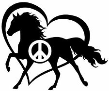 PEACE LOVE AND HORSES Vinyl Decal Sticker Car Window Wall Bumper Heart Black