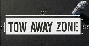"TOW AWAY ZONE, 4"" Stencil for Parking lot & curb block"