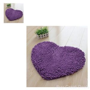 Purple Heart Rug Girls Bedroom Home Decor Teen Door Mat Carpet Soft