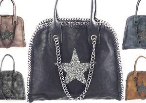 3c09663a43 Dettagli su Borsa Donna Stella Strass Simil Catena Borsa Shopper Borsa  Maglificio Look Star