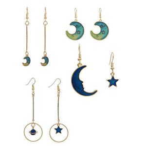 Womens Blue Star Moon Asymmetric Earrings Hook Ear Clips Long Pendant Dangle