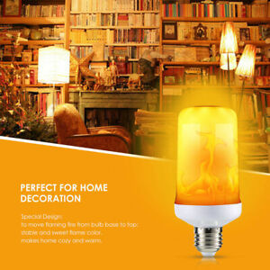 E27 LED Flicker Flame Light Bulb Simulated Burning Fire Effect Night Lamp Decors
