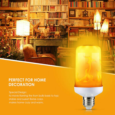 LED Flicker Flame Light Bulb Simulated Burning Fire Effect Night Lamp Home Decor