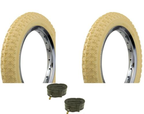 "Bicycle 2 Tires 2 Tubes 12-1//2/"" x 2-1//4/"" Cream BMX Cruiser Lowrider Bikes"