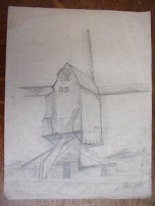 1. Dessin Au Crayon. Moulin De France. Signé Louis Franck. Circa 1940