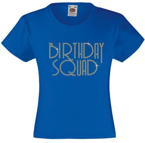 BIRTHDAY SQUAD Rhinestone//Diamanté Embellished T Shirt Beautiful Gift for Girls