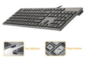 Clavier-KV-300H-Slim-USB-Hub-USB-A4-Tech-profil-bas-Communication-Filaire