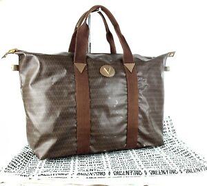 ddac95f237 AUTH MARIO VALENTINO BROWN PVC CANVAS TOTE HAND BAG SHOULDER BAG ...