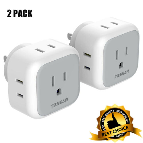 2-Pack Wall Tap Power Plug Expander with 4 Outlets,Multiple Outlet Splitter Box