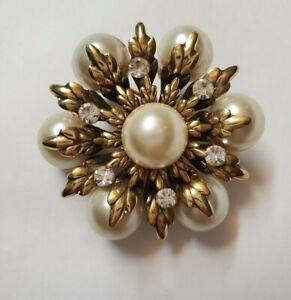 Vintage retro wedding Brooch faux amber bead beads  design Jewellery Retro Brooches Pins