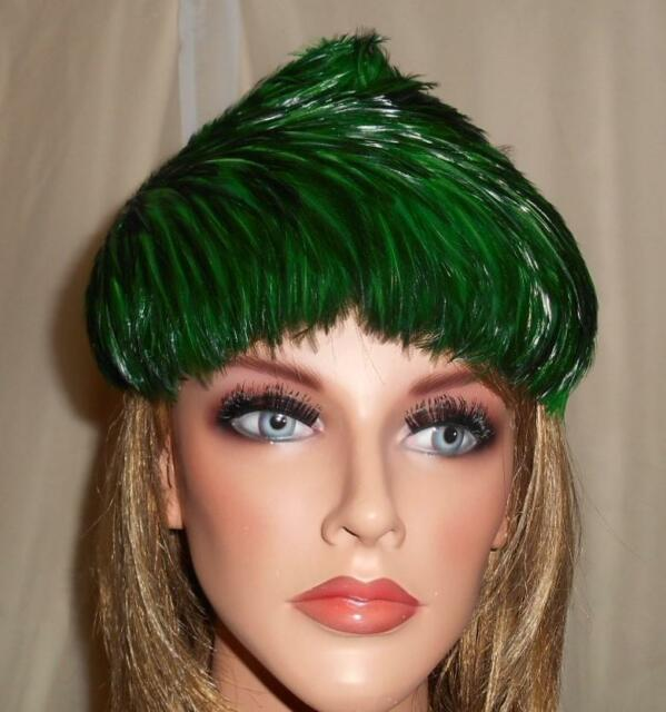 Hat Jille Original Women's Feather Hat 22 Inch Dome Shape Union Tag Green 1950's
