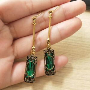 Vintage-Women-039-s-Emerald-amp-Amethyst-Dangle-Wedding-Earrings-Jewelry-Gifts-Sl