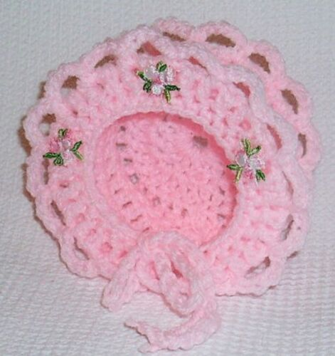 """Pink Frilly Crochet Bonnet 3lb Premature Baby Reborn Doll 13-14/"""" 1394 Dolly Togs"""
