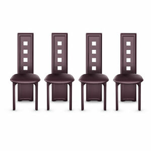 Details about 4PC Set Modern High Back Armless Brown Dining Room Table  Chairs Furniture Padded