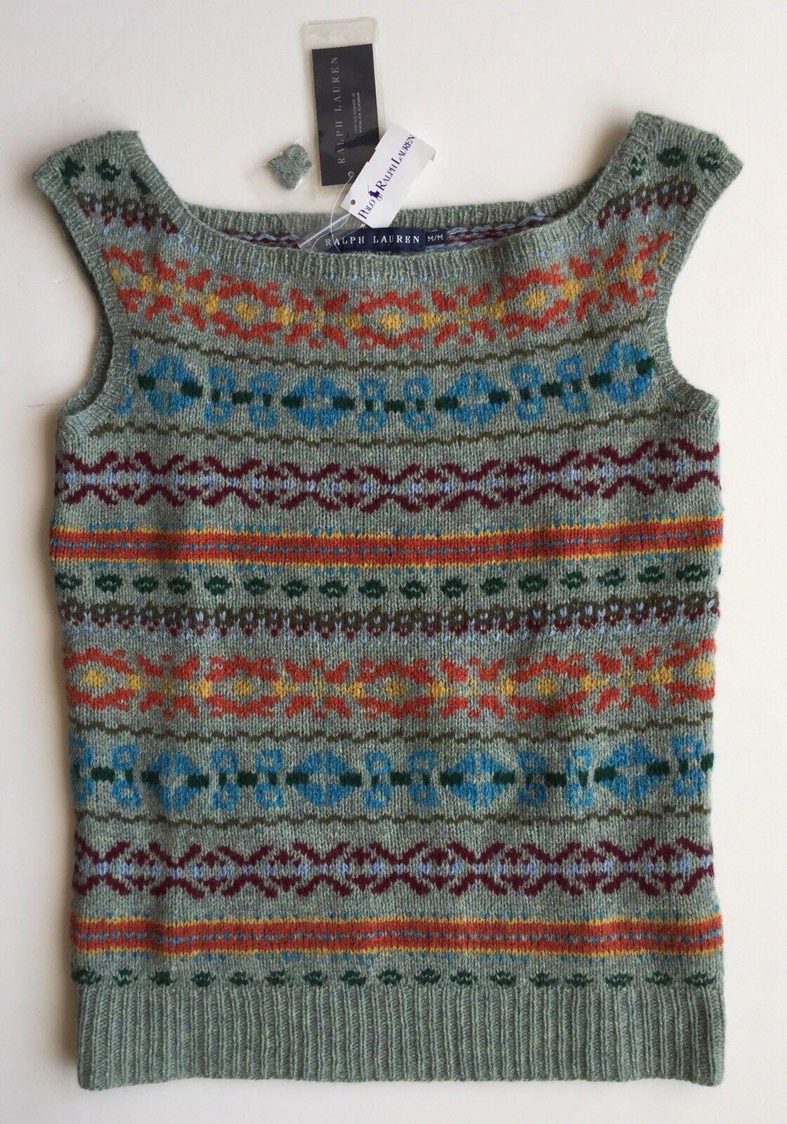 NWT Polo Ralph Lauren hand knit pattern wool cashmere sweater top vest medium m