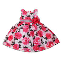 New Girls Floral Summer Party Dress In Pink Blue 3-4 4-5 5-6 6-7 Years