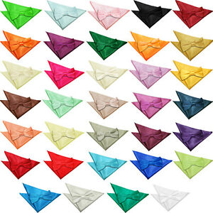 DQT-Plaine-Solide-Pre-tied-hommes-Bow-cravate-amp-mouchoir-de-poche-carre-Set-Gratuit-Boutons-de