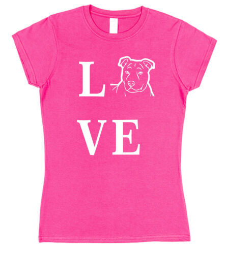 Love Staffordshire Terrier Dog Ladies Fitted T-Shirt staffy staffie dogo argent
