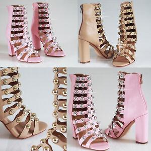 Womens-Girls-Ladies-High-Block-Heel-Gladiator-Gold-Studded-Peep-Toe-Shoes-Sizes