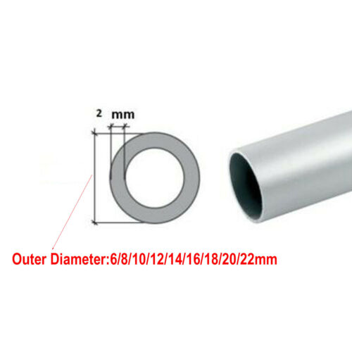 2mm 400mm 500mm 6063 Aluminum Alloy Round Straight  Tube Pipe Length OD 6-22mm