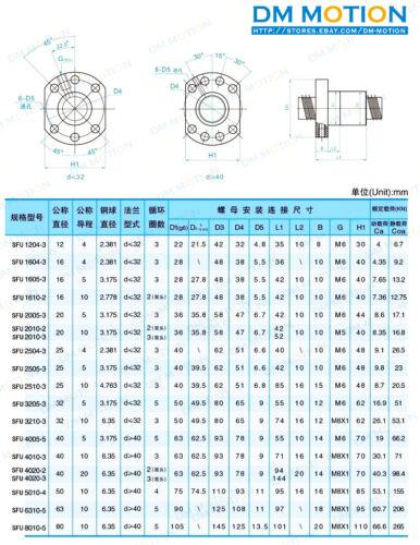 Rolled ballscrew RM1605 SFU1605 450mm METAL DEFLECTOR Ball nut for DIY cnc part