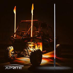 Xprite 5ft Orange Led Whip Lights And Flag For Polaris Rzr