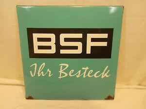 Emailschild-BSF-Ihr-Besteck-Werbeschild-altes-Reklameschild-Blechschild