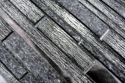 Mosaik Fliese Glasmosaik Natursteinmosaik//alu mix schwarz Wand Bad 49-GV84/_b