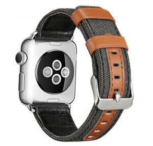 Genuine Leather Canvas Fabric Bands Strap For iWatch Apple Watch Series 4/3/2/1