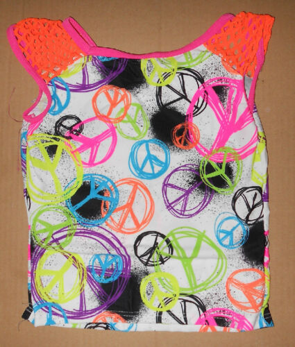 NWT Graffiti Spandex top Hot Orange Mesh Shoulders ch//ladies sz hip hop dance