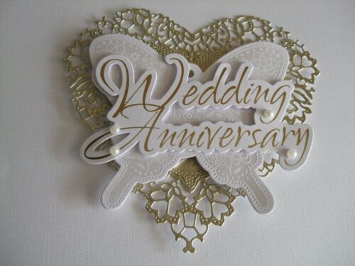 White For Cards embellished with pearls Gold Heart Anniversary Topper