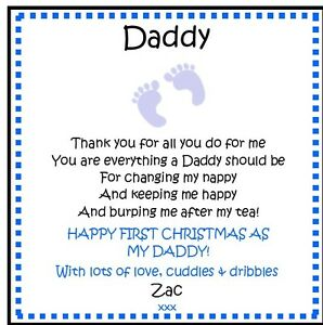Personalised Drink Coaster Daddy First Fathers Day Gift Idea