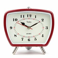 Retro Style Vintage Inspired Battery Alarm Clock, Desk Bedside Table Classic Red