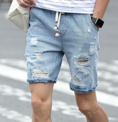 Short Ripped Casual Distressed Denim Jeans For Men Holes Pants Summer Shorts