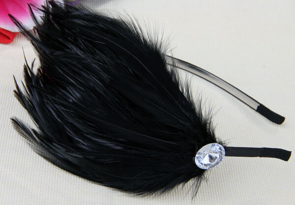 Black Feather Metal Headband Hair Alice Band Gift Wedding Party Prom