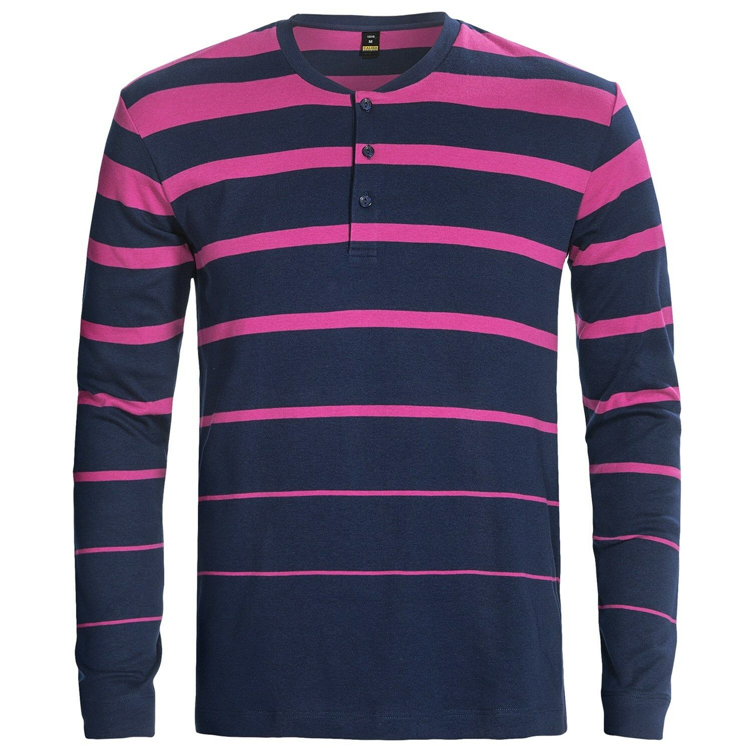 Calida Body Wear - Men's S - NIP - Pink & bluee Striped Cotton L S Henley Shirt