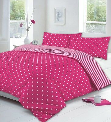NEW DOUBLE DUVET SET QUILT COVER WITH PILLOWCASES TEAL RED PINK POLKA DOT