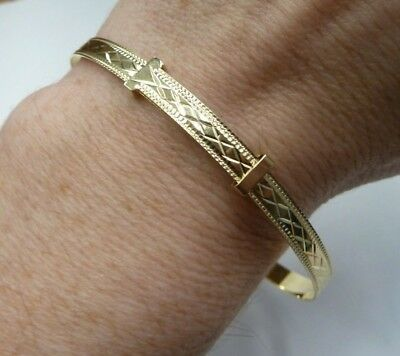 9ct Yellow Gold on Silver Ladies Patterned Bangle