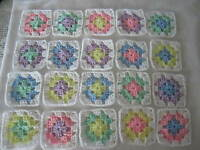 20-4 Granny Squares Blocks 4 Afghan, Afghans Assorted Pastel Colors