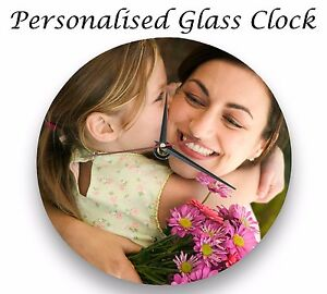 Personalised-wall-glass-clock-photo-text-logo-printed-Mother-039-s-Day-FriendsFamily