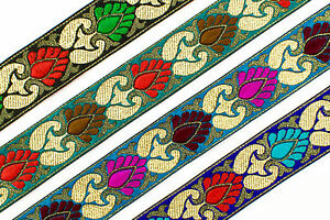 "4.50 Yd Velvet Ribbon Trim 0.60/"" wide Woven Border Sew Embroidered  Lace T882"