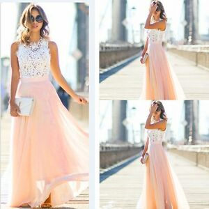 Elegant-Women-039-s-Bridesmaid-Evening-Gown-Formal-Party-Prom-Long-Lace-Maxi-Dress