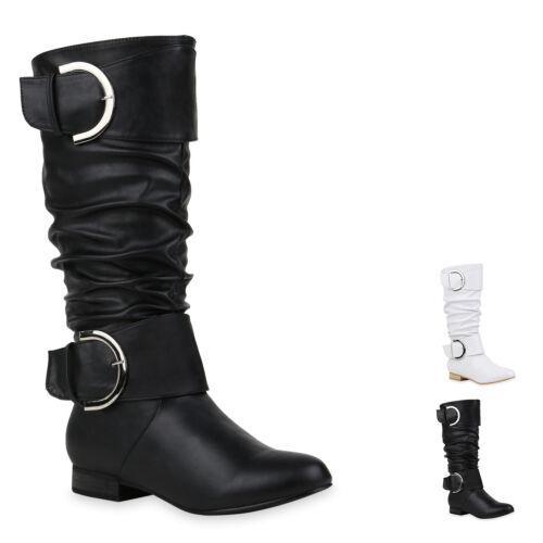 Damen Klassische Stiefel Leder-Optik Schuhe Schnallen Boots 898524 New Look