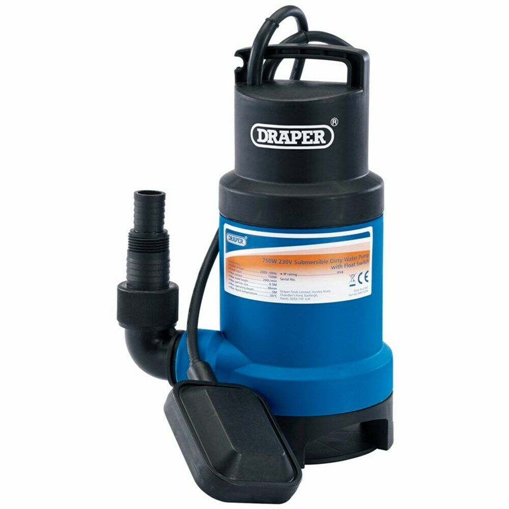 DRAPER 61667 - 200L/Min Submersible Dirty Water Pump with Float Switch (750W)